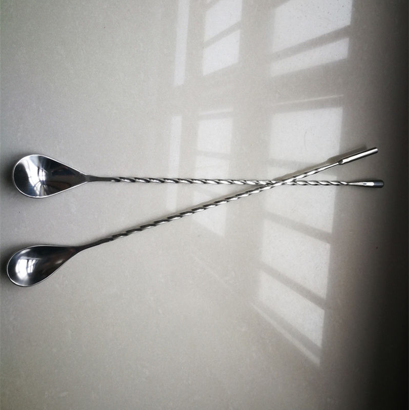 Cocktail Stirrer Stainless Steel Bar Spoon With Fork , Corrosion Resistance